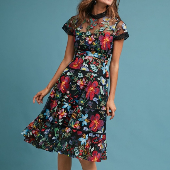 07ef4de186ea Anthropologie Dresses | Janine Embroidered Dress 6p Vone New | Poshmark